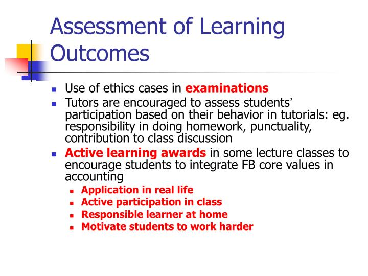Assessment of Learning Outcomes