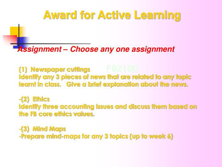 Award for Active Learning