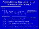 computational tree logic ctl clarke emerson early 1980 s