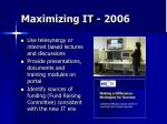 maximizing it 2006