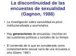 la discontinuidad de las encuestas de sexualidad gagnon 1988