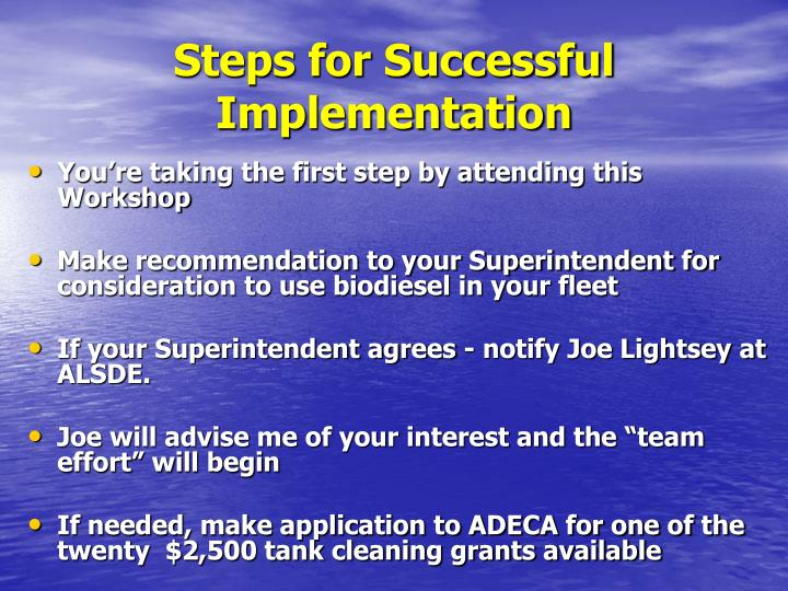 Steps for Successful Implementation