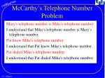 mccarthy s telephone number problem