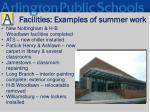 facilities examples of summer work