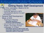 getting ready staff development