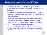 continued compatibility with ractrac