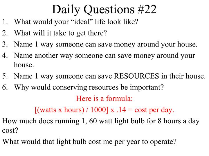 daily questions 22 n.