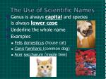 the use of scientific names