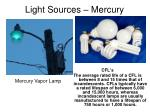 light sources mercury