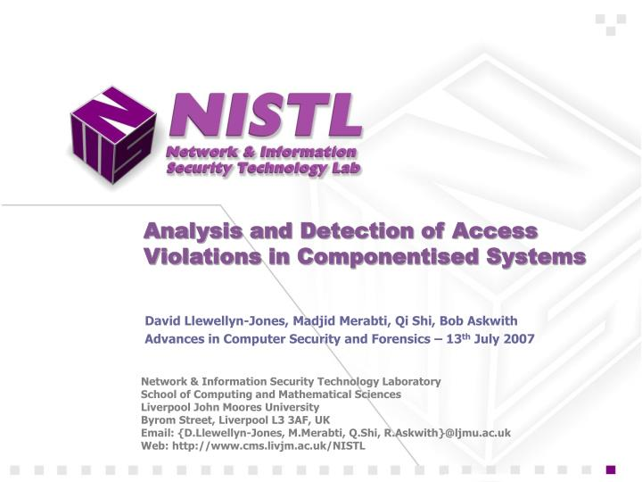 analysis and detection of access violations in componentised systems n.