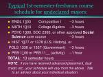 typical 1st semester freshman course schedule for undeclared majors