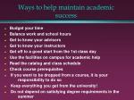 ways to help maintain academic success