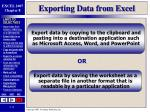 exporting data from excel