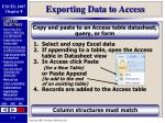 exporting data to access