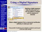 using a digital signature