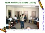 youth workshop sessions cont d