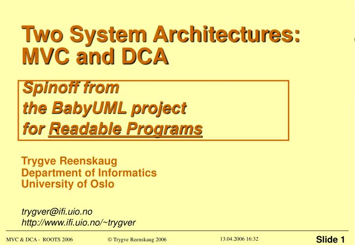 two system architectures mvc and dca n.