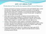 acfs 2011 annual plan priority actions that can be accomplished within current resources