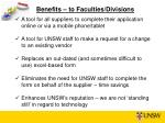 benefits to faculties divisions