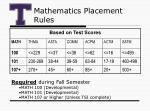 mathematics placement rules