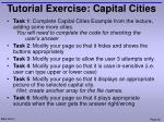 tutorial exercise capital cities