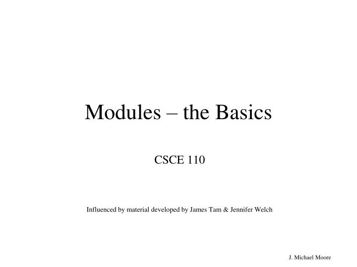 modules the basics n.