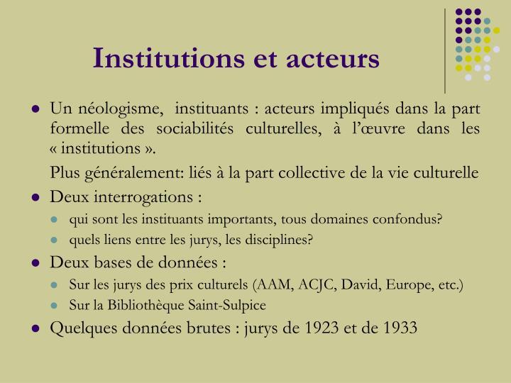 Institutions et acteurs