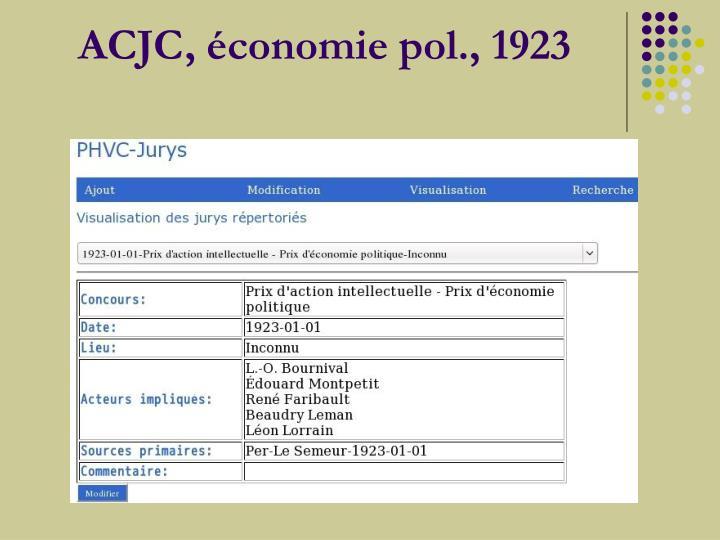 ACJC, économie pol., 1923