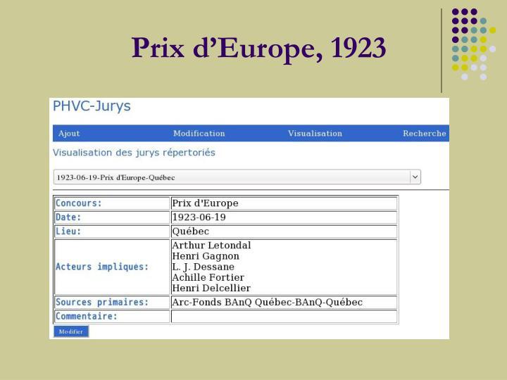 Prix d'Europe, 1923