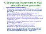 v sources de financement en fga et modifications propos es10