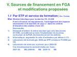 v sources de financement en fga et modifications propos es6