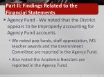 part ii findings related to the financial statements