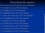 classement des sports