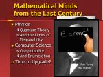 mathematical minds from the last century