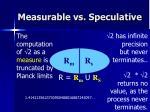 measurable vs speculative