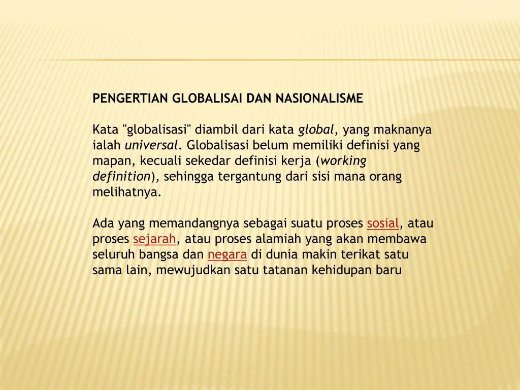 Ppt Pengertian Globalisai Dan Nasionalisme Powerpoint Presentation