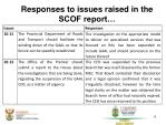 responses to issues raised in the scof report8