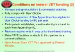 conditions on federal vet funding 2
