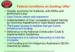 federal conditions on funding offer