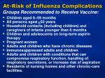 at risk of influenza complications