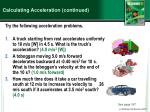 calculating acceleration continued