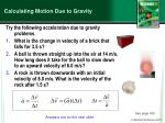 calculating motion due to gravity1