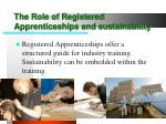 the role of registered apprenticeships and sustainability