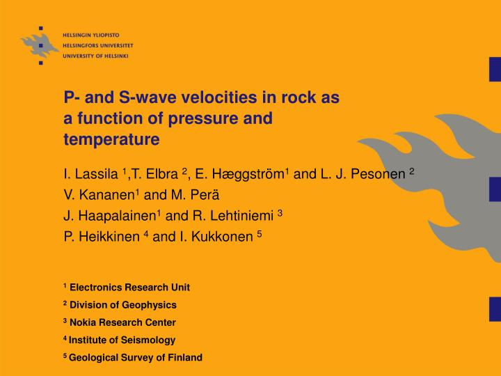 p and s wave velocities in rock as a function of pressure and temperature