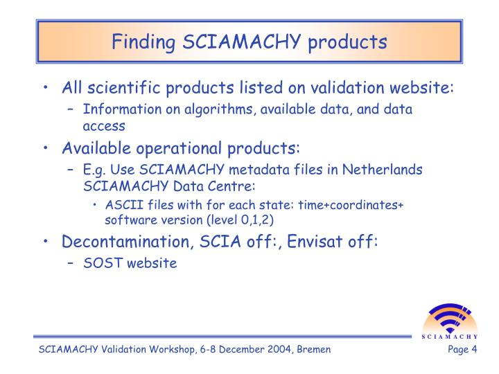 Finding SCIAMACHY products