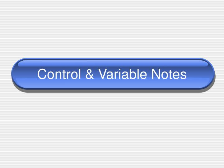 control variable notes n.