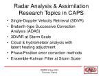 radar analysis assimilation research topics in caps