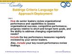 baldrige criteria language for approach deployment