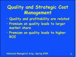 quality and strategic cost management