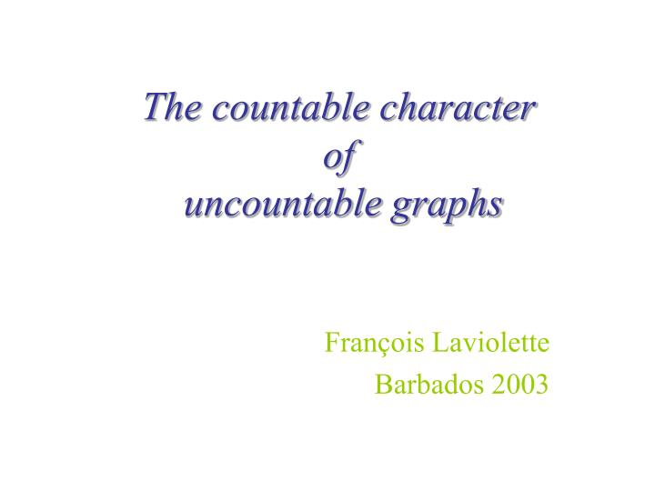 the countable character of uncountable graphs n.